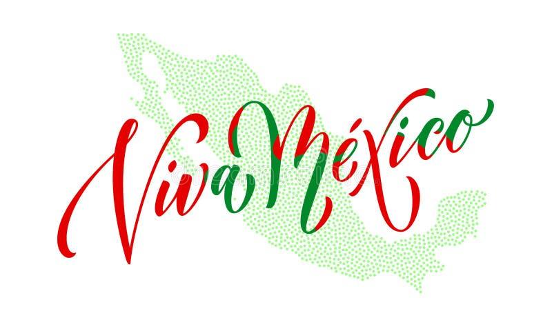 Van de de Onafhankelijkheidsdag van Viva Mexico markeert het van letters voorziende Mexicaanse vector nationale symbool kaartkleu royalty-vrije illustratie