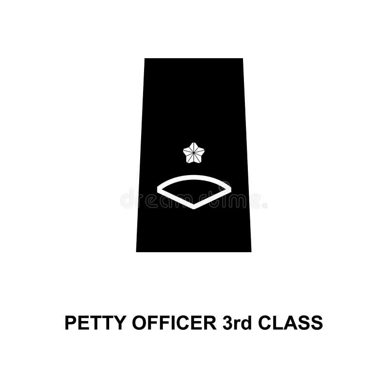 van de de onderofficier de 3de klasse van Japan militair rangen en insignes glyph pictogram royalty-vrije illustratie