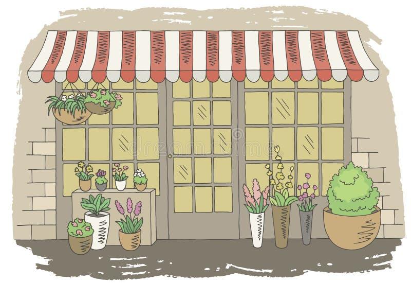 Van de de opslag de grafische kleur van de bloemwinkel vector van de de schets buitenillustratie vector illustratie
