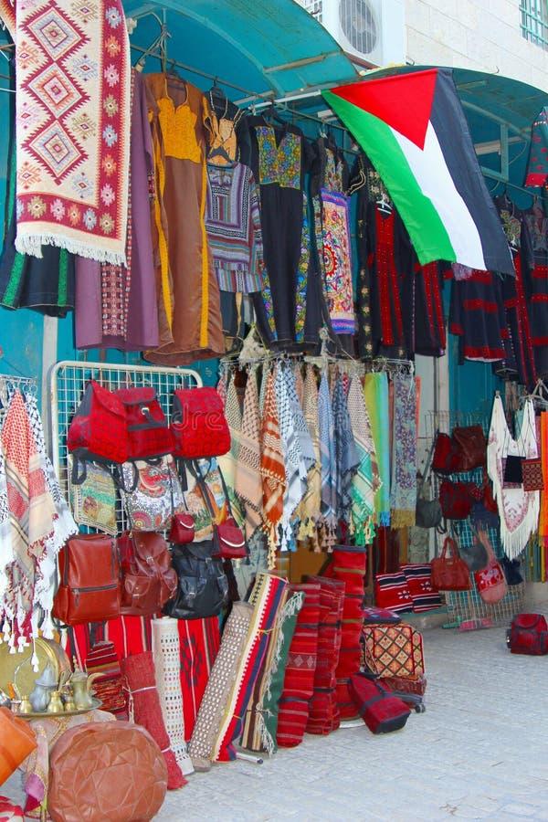Van de opslaghandtassen van kunstenambachten de Palestijnse vlag, Bethlehem stock afbeeldingen