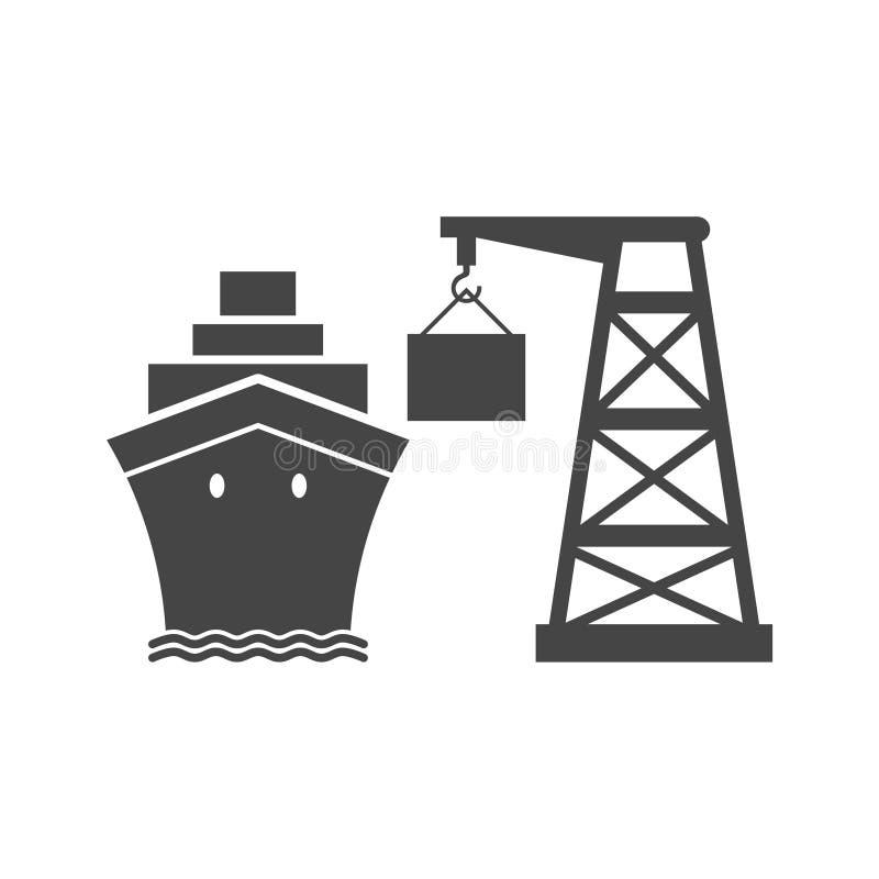 Van de overzeese het eenvoudige pictogram Handelshaven vector illustratie