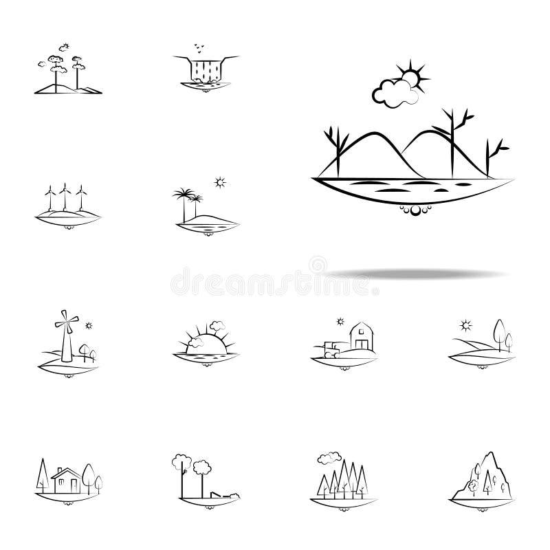 van de overzeese het pictogram van de de zonwolk bergboom Voor Web wordt geplaatst dat en het mobiele algemene begrip van Landspa stock illustratie