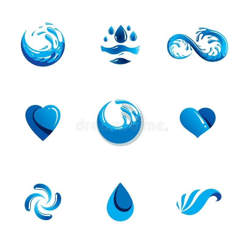 Van de overzeese het vectorembleem golfplons Zuiver water als stuwende kracht voor stock illustratie