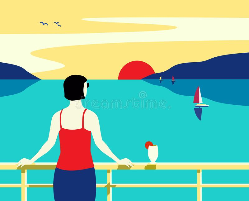 Van de overzeese van de de toeristenreis cruisevoering de getrokken vlakke affiche hand royalty-vrije illustratie