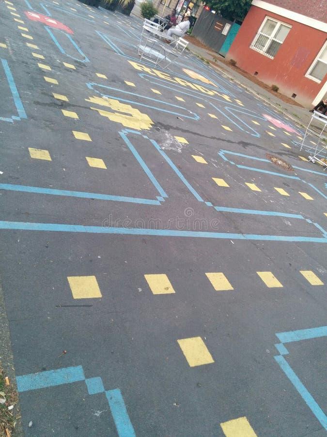 Van de pac-mens het park straatkunst in Seattle, diagonale mening stock afbeelding