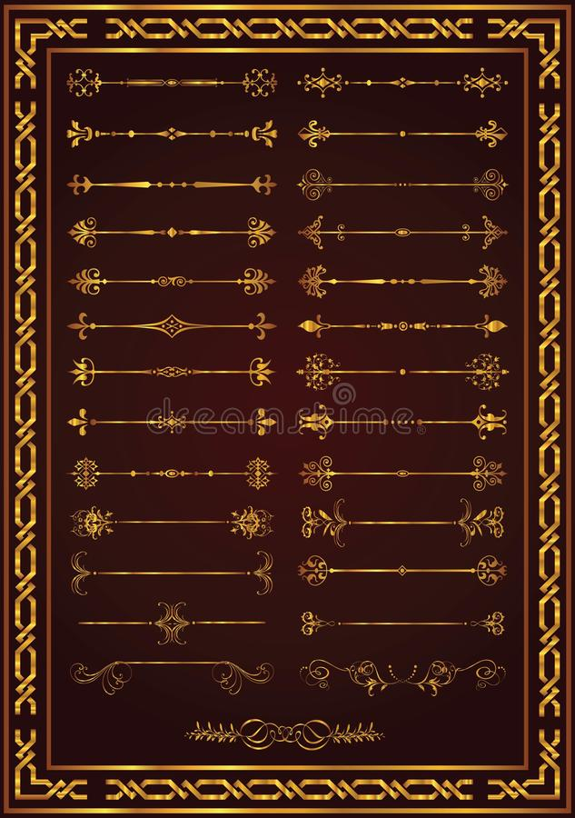 Van de de paginadecoratie van Nice vastgestelde de elementen gouden kleur royalty-vrije illustratie