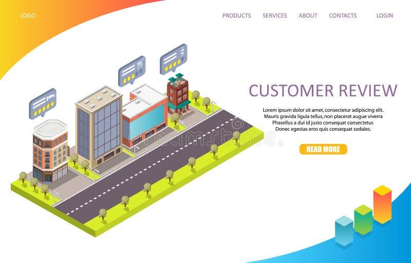 Van de de paginawebsite van het klantenoverzicht het landende vectormalplaatje royalty-vrije illustratie