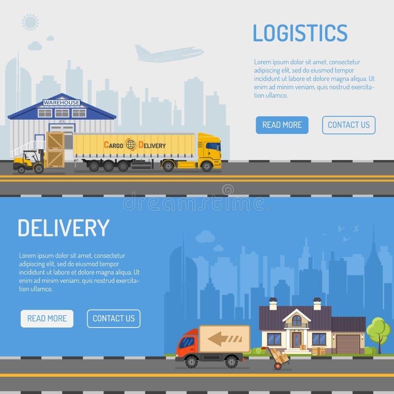 Van de pakhuislevering en Logistiek Banners vector illustratie