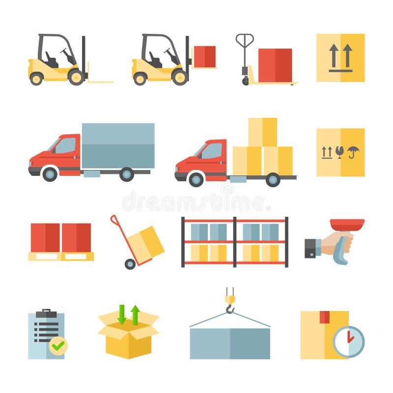 Van de pakhuisvervoer en levering vlakke pictogrammen royalty-vrije illustratie