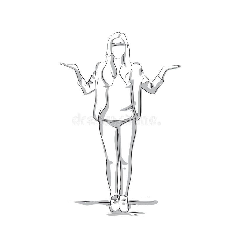 Van de de Palmenonderneemster van de bedrijfsvrouwenholding de Open Witte Achtergrond van Full Length On vector illustratie