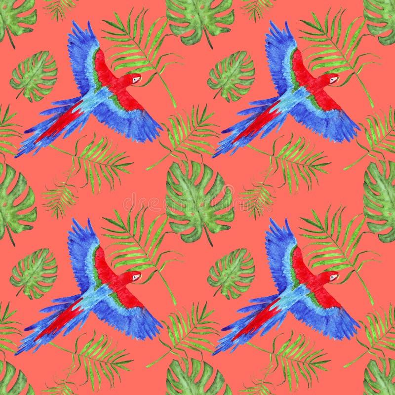 Van de de papegaaiara van het waterverf tropische naadloze patroon de bladerenmonstera en palm royalty-vrije illustratie