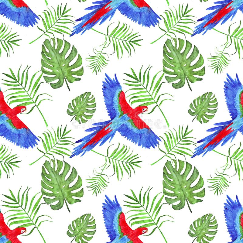 Van de de papegaaiara van het waterverf tropische patroon de bladerenmonstera en palm royalty-vrije illustratie