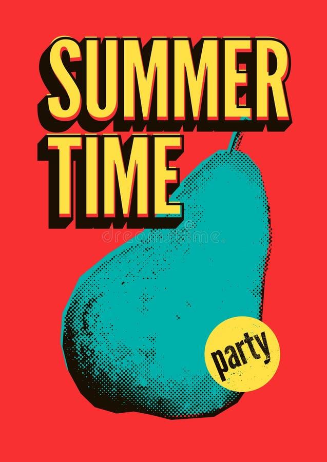 Van de Partij typografisch grunge van de de zomertijd van de het pop-artstijl uitstekend de afficheontwerp Retro vectorillustrati vector illustratie