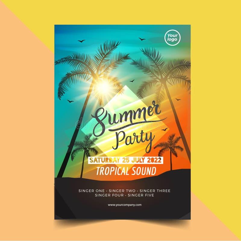 Van de de partijaffiche van de de zomertijd het ontwerpmalplaatje met de silhouetten van palmenbomen Moderne stijl vectorillustra stock illustratie