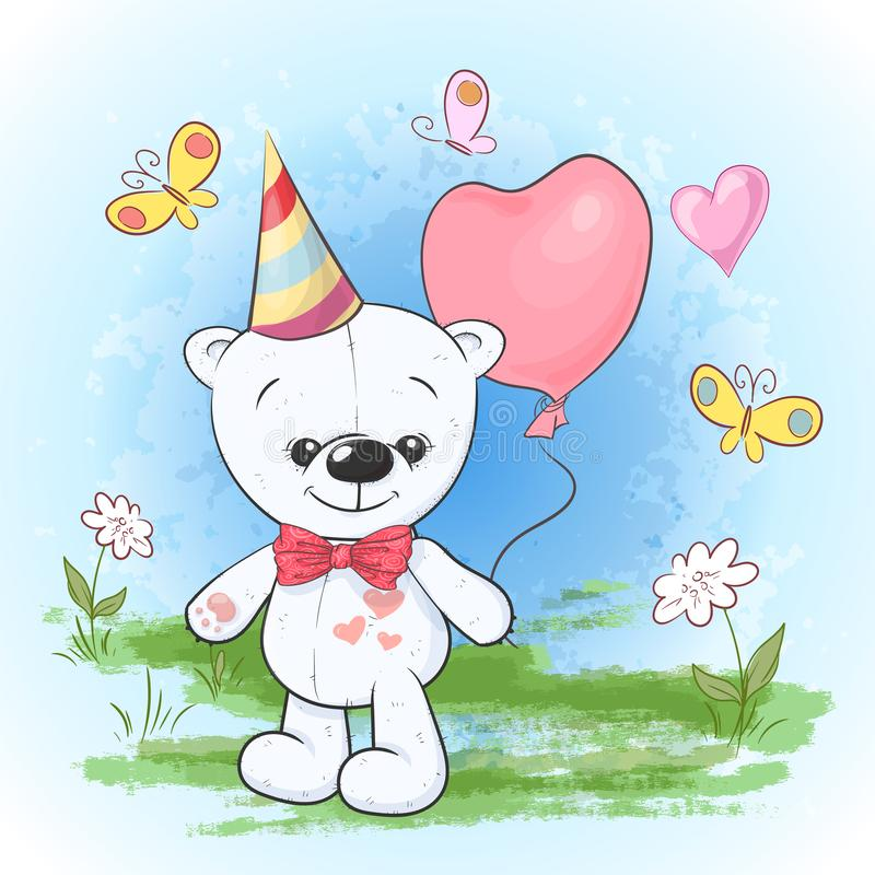 Van de de partijverjaardag van de prentbriefkaardruk de ijsbeer in een GLB met ballons De stijl van het beeldverhaal vector illustratie