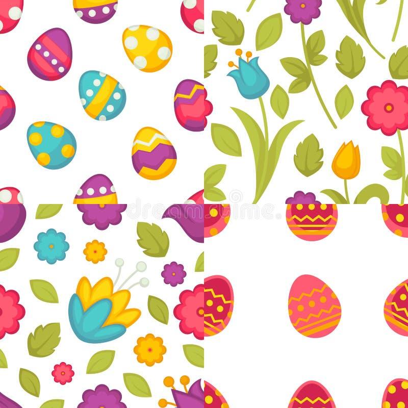Van de patroneneieren en bloemen van Pasen naadloze de lentevakantie stock illustratie