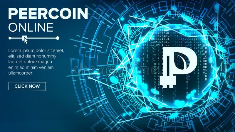 Van de Peercoin Abstracte Technologie Vector Als achtergrond Binaire code Fintech Blockchain cryptografie Cryptocurrencymijnbouw stock illustratie