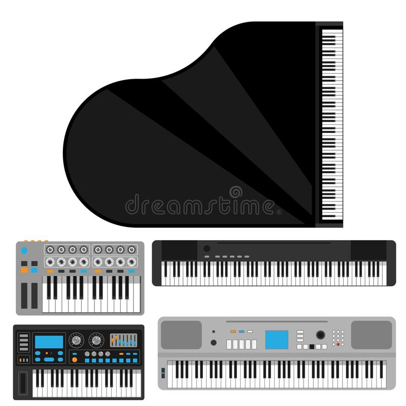 Van de de pianomelodie van toetsenbord muzikaal instrumenten vector klassiek van de de studio akoestisch glanzend musicus het mat vector illustratie
