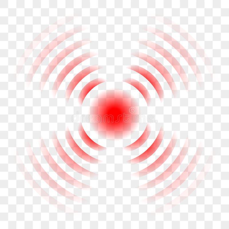 Van de de pijnstillerpijn van de pijn rood cirkel het punt vectorpictogram vector illustratie