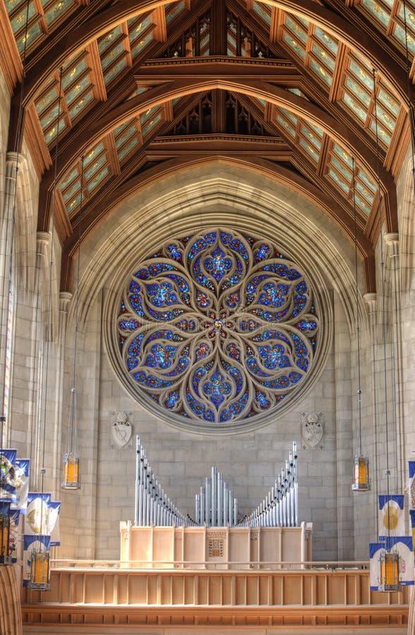 Van de pijporgaan en kathedraal plafonds stock afbeelding