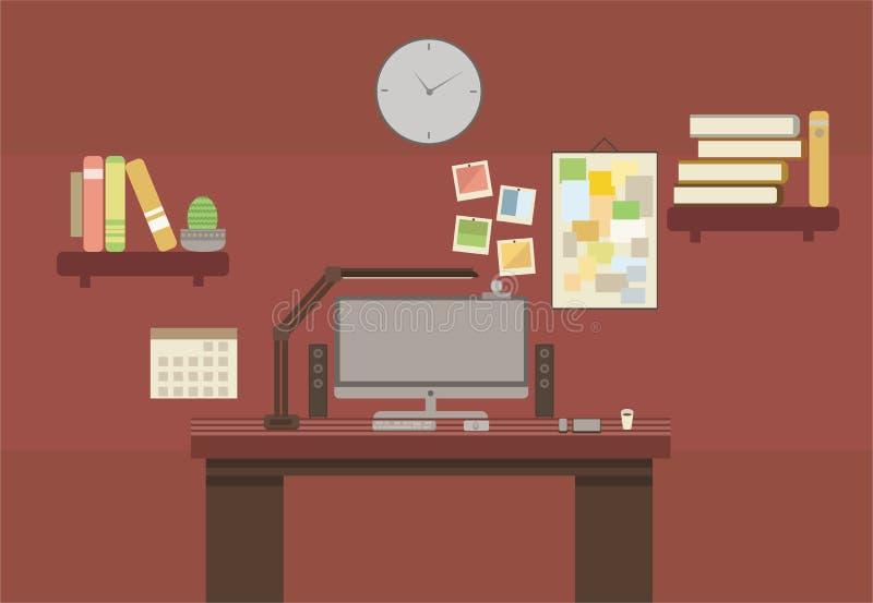 Van de de plaats de vlakke stijl van het drukbureau ruimte van het de kleuren bruine kabinet stock illustratie