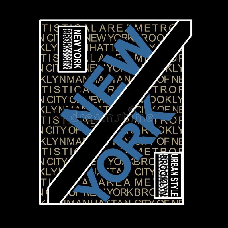 Van de de plaatstypografie van New York Brooklyn Beroemde de t-shirtvector royalty-vrije illustratie