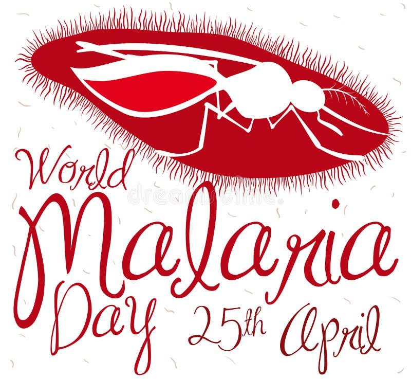 Van de Plasmodiumparasiet en Mug Silhouet het Herdenken de Dag van de Wereldmalaria, Vectorillustratie vector illustratie