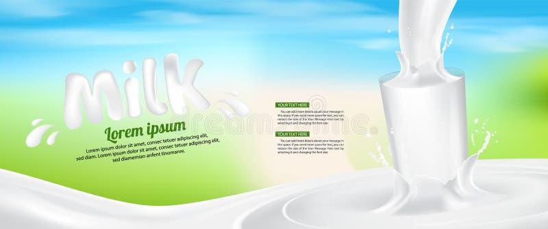 Van de de Plonsbanner van het melkglas de advertentie Vectorillustratie Als achtergrond vector illustratie