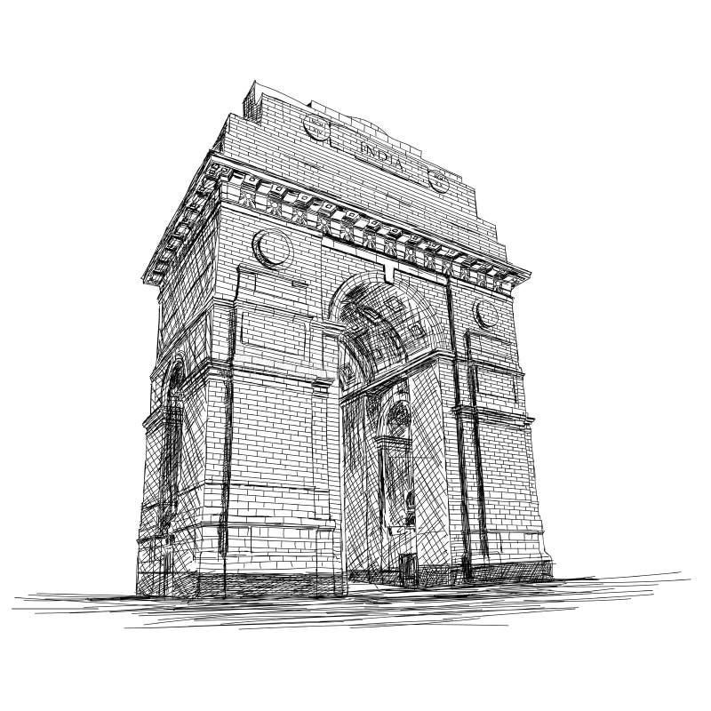 Van de de Poort het Vectorschets van India Gedenkteken van de de Illustratieoorlog, New Delhi, I royalty-vrije illustratie