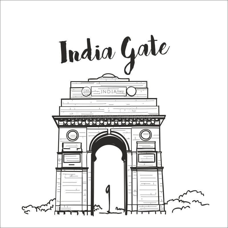 Van de de poortschets van India de vectorillustratie royalty-vrije illustratie