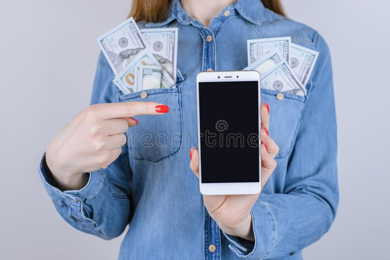 Van de de portefeuillebank van de aankoopplaats van het de jeansoverhemd digita van de spijkers sexy technologie rode stock afbeeldingen