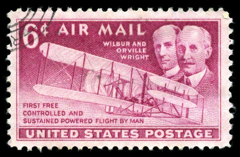 Van de Postzegelwright brothers van de V.S. de eerste vlucht stock afbeelding