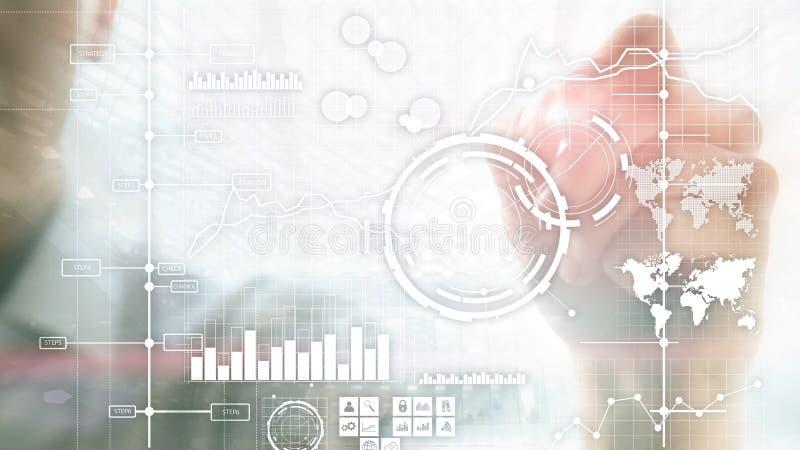 Van de prestatie-indicatorkpi van bedrijfsintelligentiebi de Zeer belangrijke van het de Analysedashboard transparante vage achte royalty-vrije stock afbeeldingen