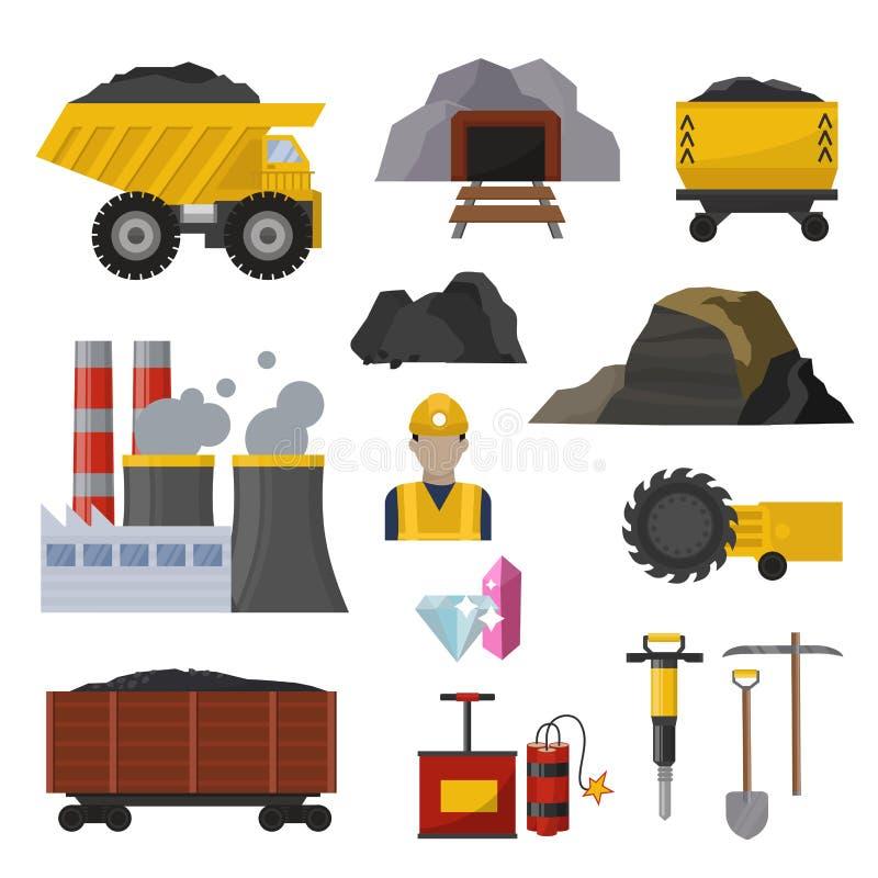 Van de de productiemijnbouw van de steenkoolextractie van de de zware industriemijnwerker van het het werkvervoer de ondergrondse vector illustratie