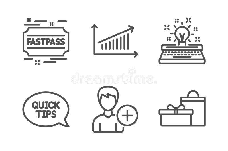 Van van de Quickstartgids, Schrijfmachine en Fastpass geplaatste pictogrammen Voeg persoon, Grafiek en Giftentekens toe Vector stock illustratie