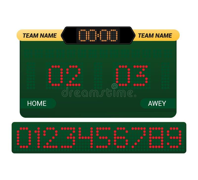 Van de de raads digitale vertoning van de scorebord de vectorscore van het de voetbalvoetbal van het de sportteam de gelijkeconcu stock illustratie