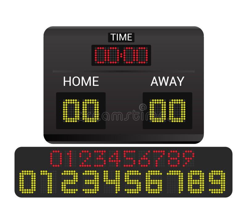 Van de de raads digitale vertoning van de scorebord de vectorscore van het de voetbalvoetbal van het de sportteam de gelijkeconcu royalty-vrije illustratie