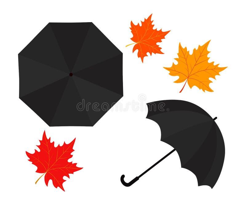 Van de regenparaplu en herfst bladeren op witte achtergrond stock illustratie