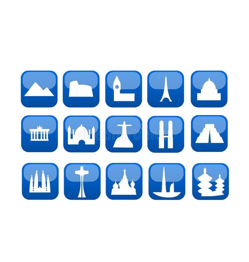 Van de reisoriëntatiepunten van de wereld het pictogramreeks royalty-vrije illustratie