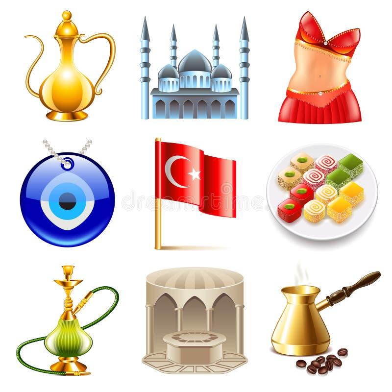 Van de reispictogrammen van Turkije de vectorreeks royalty-vrije illustratie