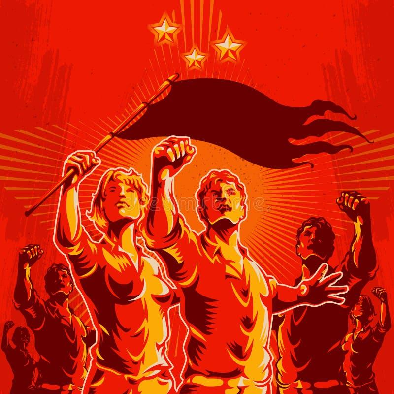 Van de de Revolutieaffiche van het menigteprotest de Propagandaachtergrond stock afbeeldingen