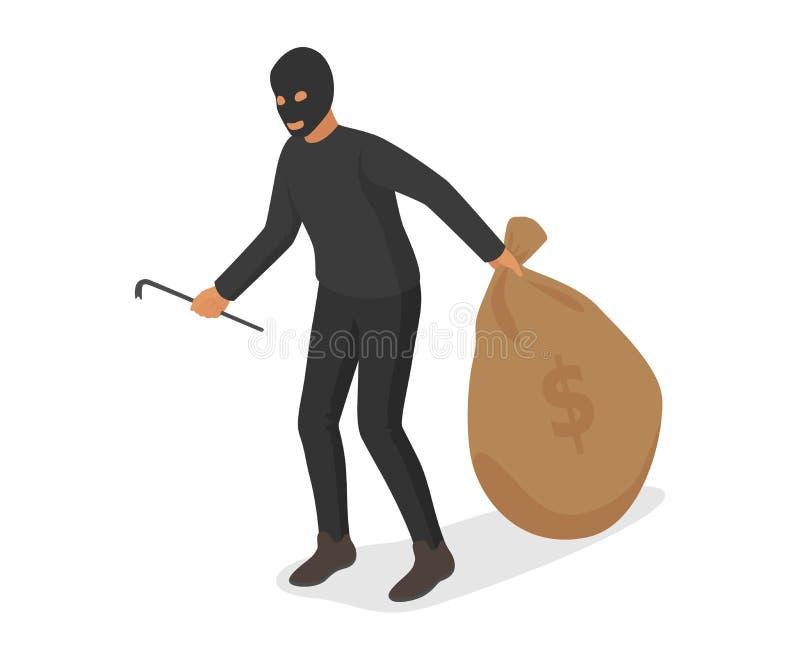 Van de de rijkdom misdadige dief van het mensengeld int de vector van de de hakkerpersoon zak van de het karakterholding met munt stock illustratie