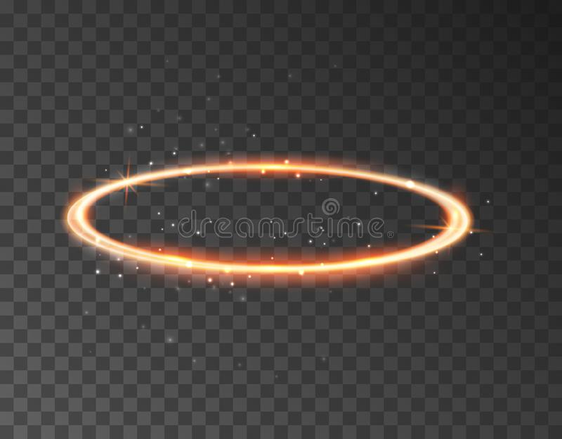 Van de ringsheilige van de engelenhalo het aureoolpictogram Heilig gouden de cirkel realistisch element van nimbus van de ringsen vector illustratie
