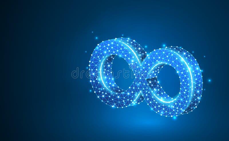 Van de de ringsoneindigheid van de Mobiusstrook de heilige meetkunde Digitaal wireframe laag polynetwerk, vectorneon 3d illustrat vector illustratie