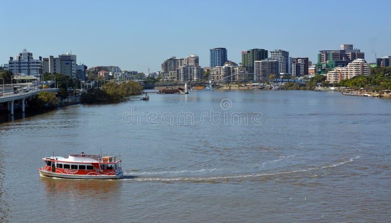 Van de Rivierveerboten van Brisbane de Ochtendpanorama, Queenland Australië royalty-vrije stock foto