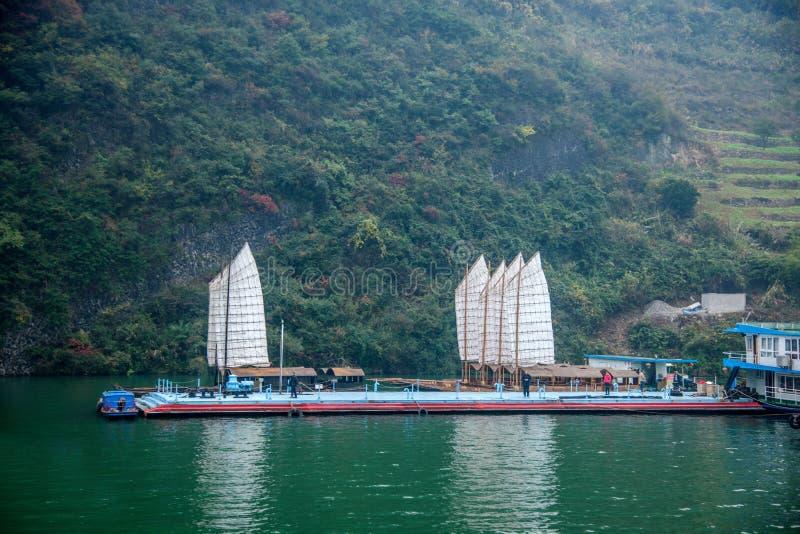 Van de Rivierwu van Hubeibadong Yangtze van de de Kloofmond het varen van de kettingszixi stock fotografie