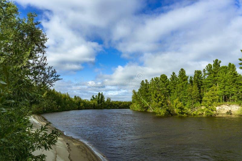 Van de rivieryagenetta van het de zomerlandschap het verre noorden royalty-vrije stock foto's