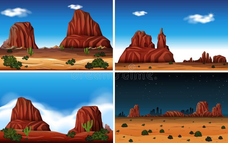 Van de rotsberg en Woestijn Scène stock illustratie