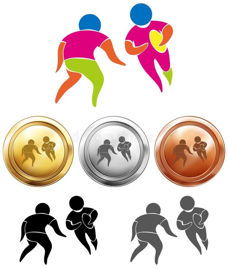 Van de rugbypictogram en sport medailles royalty-vrije illustratie