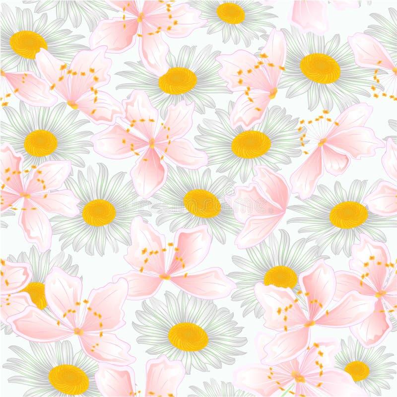 Van de sakura en madeliefjes de natuurlijke achtergrondwaterverf van de de lentebloem uitstekende vector editable illustratie vector illustratie